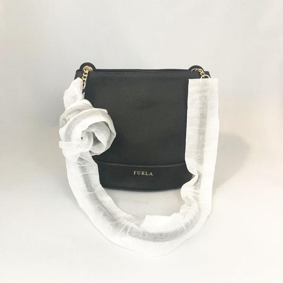 Furla Handbags - Furla Black Leather Bucket Crossbody Bag
